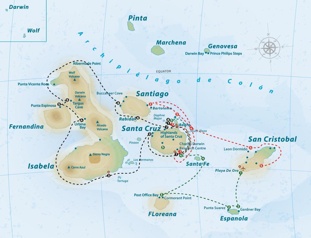 Treasure of the Galapagos Itineraries Map