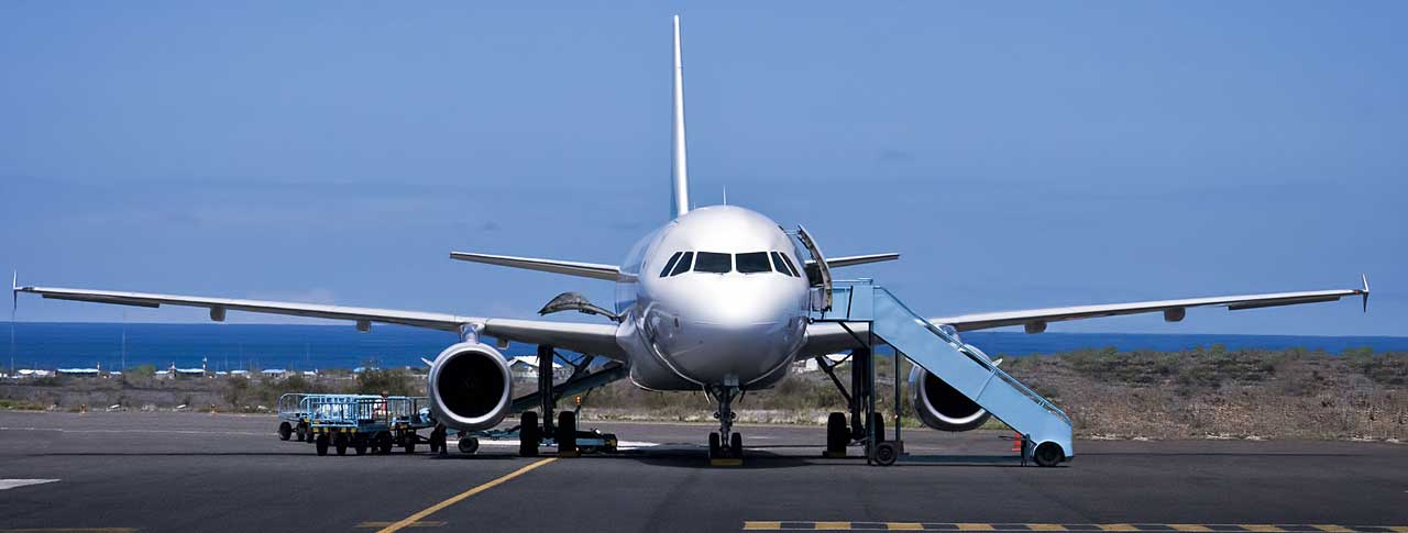 Aeroplane at Baltra airport - galapagos islands